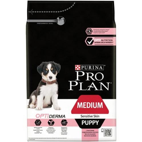 Purina Pro Plan для щенков средних пород с чувствительной кожей лосось и рис