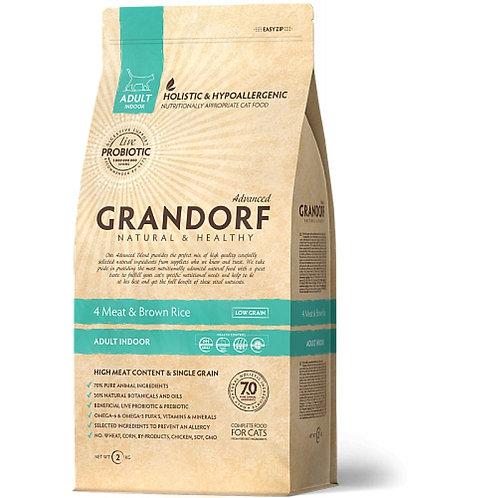 Grandorf 4Meat & Brown Rice Adult Indoor Грандорф Корм для домашних кошек четыре