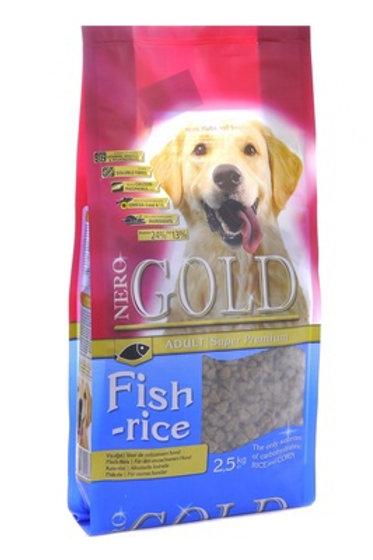NERO GOLD super premium для взрослых собак: рыбный коктейль, рис и овощи