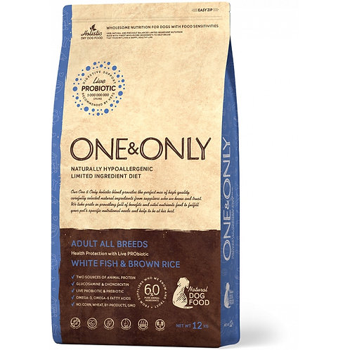 One&Only White fish & Rice Adult All Breeds Ван энд Онли Сухой низкозерновой кор