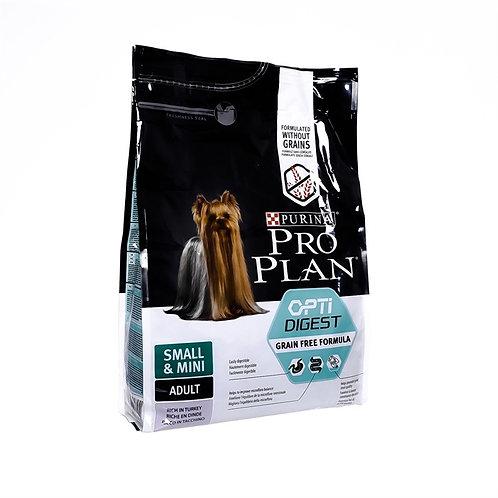 Purina Pro Plan для взрослых собак малых пород с чувствительным пищ. индейка