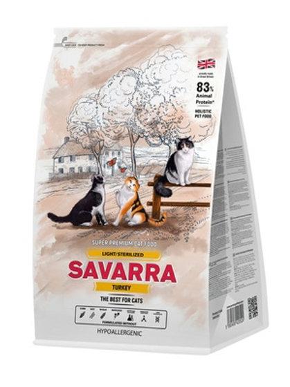 Savarra гипоаллергенный для взр. кошек с избыт. весом и стерилизованных, индейка