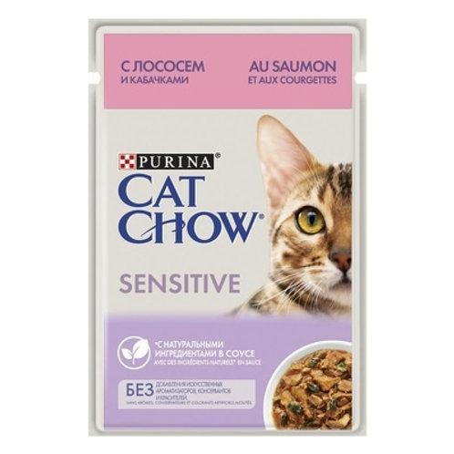 Cat Chow для кошек с чувствительным пищеварением, с лососем и кабачками в соусе