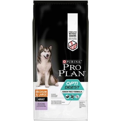 Purina Pro Plan беззерновой для взр. собак сред. пород для чувств. пищ. индейка