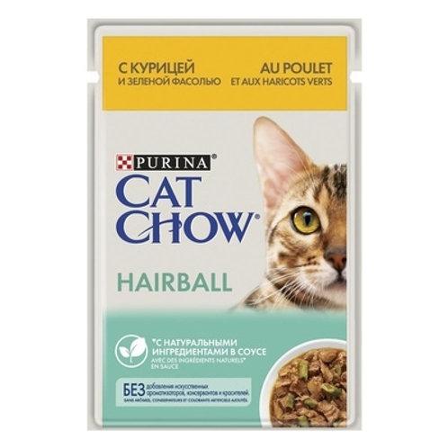 Cat Chow для кошек для контроля образования комков шерсти, с курицей и фасолью