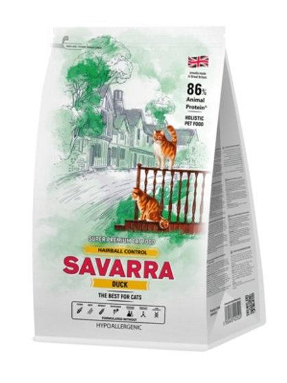 Savarra гипоаллергенный для кошек, против комочков шерсти в желудке, утка и рис