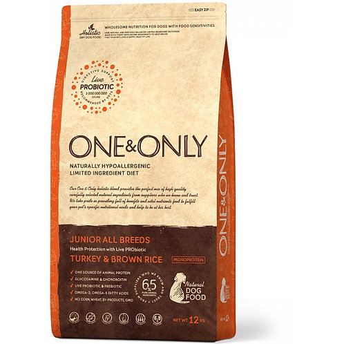 One&Only Turkey & Rice Junior All Breeds Ван энд Онли Сухой низкозерновой корм д