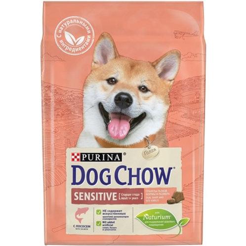 Dog Chow sensitive salmon для взрослых собак с чувствительным пищев. лосось
