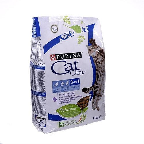 Cat Chow для кошек 3 в 1: профил. МКБ, зуб. камня, вывод шерсти с дом. птицей