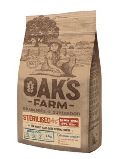 OAKS FARM беззерновой, для стерилизованных кошек от 1 года, с лососем и крилем