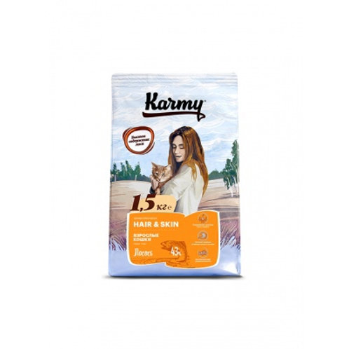 Karmy Hair & Skin Карми Сухой корм для кошек, для здоровья кожи и шерсти с лосос