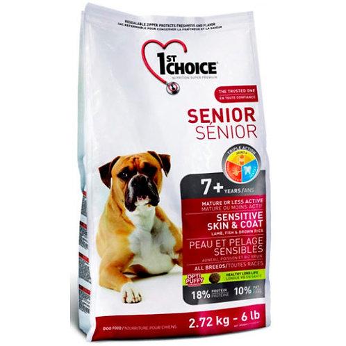 1ST CHOICE Чойс корм для пожилых собак с чувствительной кожей и для шерсти ягнен