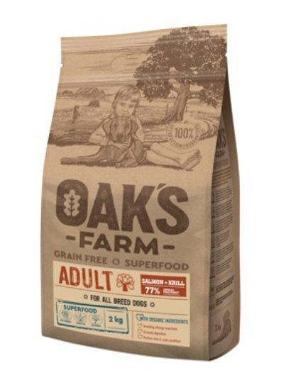 OAKS FARM беззерновой, для взрослых собак всех пород, с лососем и крилем