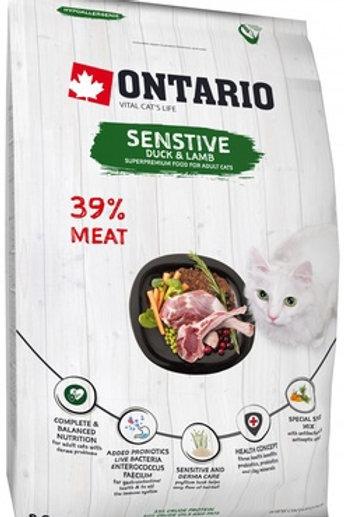 Оntario для кошек с чувствительным пищеварением, с уткой и ягненком