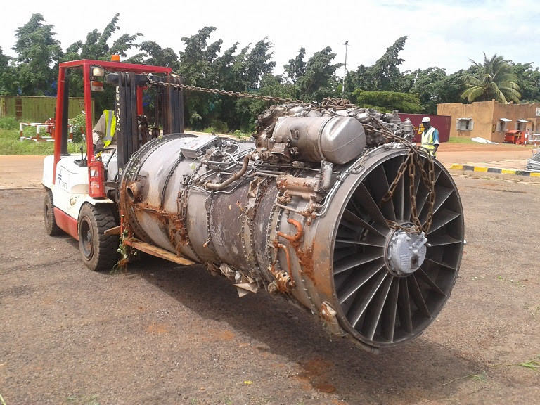 Scrap JT8D Jet Engine be prepared for recycling.