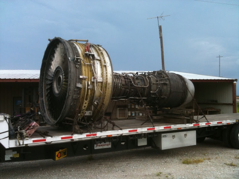 Scrap CF6 engine being loaded for transport to Oryx Metals recycling facility.