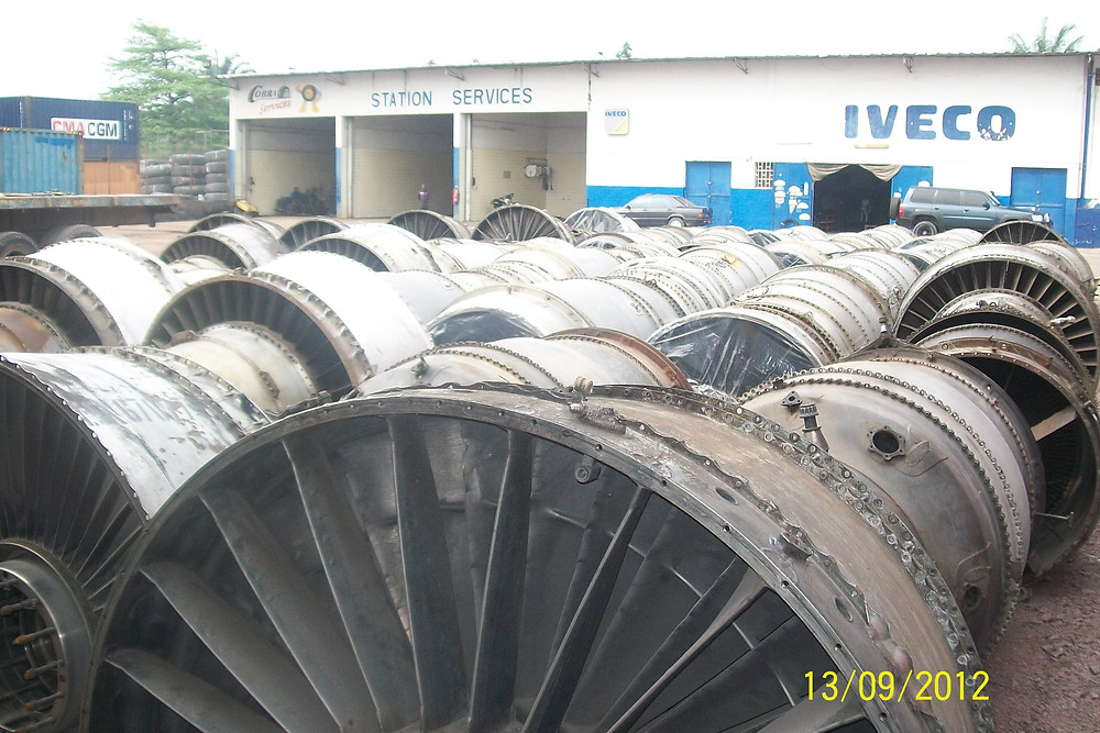 Scrap JT8 Jet Engines waiting for loading in sea containers for transport to the U.S. for recycling.