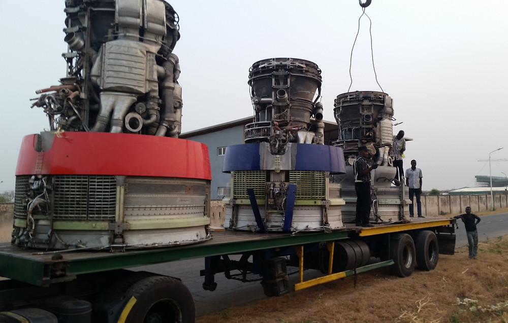 Scrap JT9D jet engines being loaded for transport to Lagos, Nigeria for stuffing into sea containers and shipped to the U.S. for recycling.