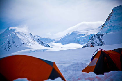 Camping high on the glacier mount bear