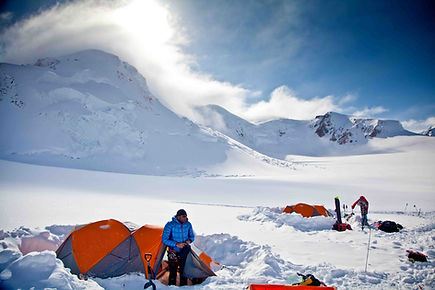 Warwick Pickering camp 2 after fresh snowfall