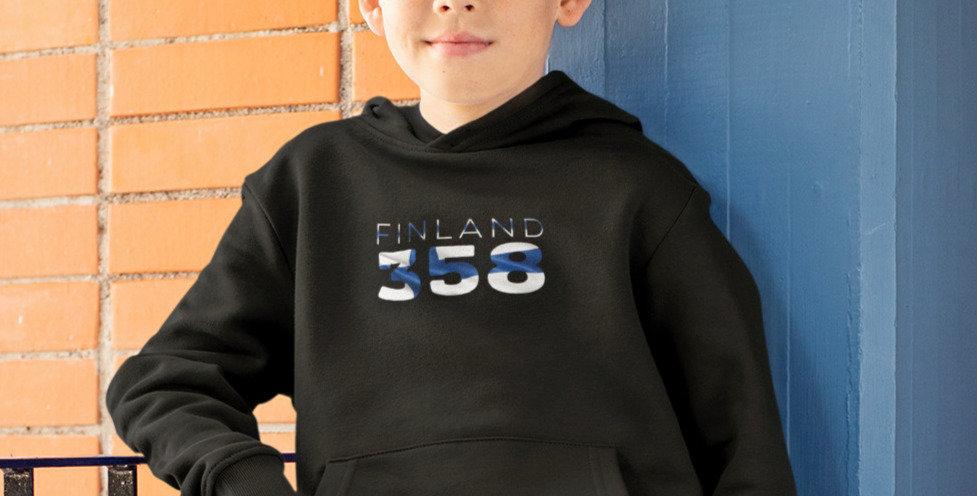 Finland Childrens Black Hoodie