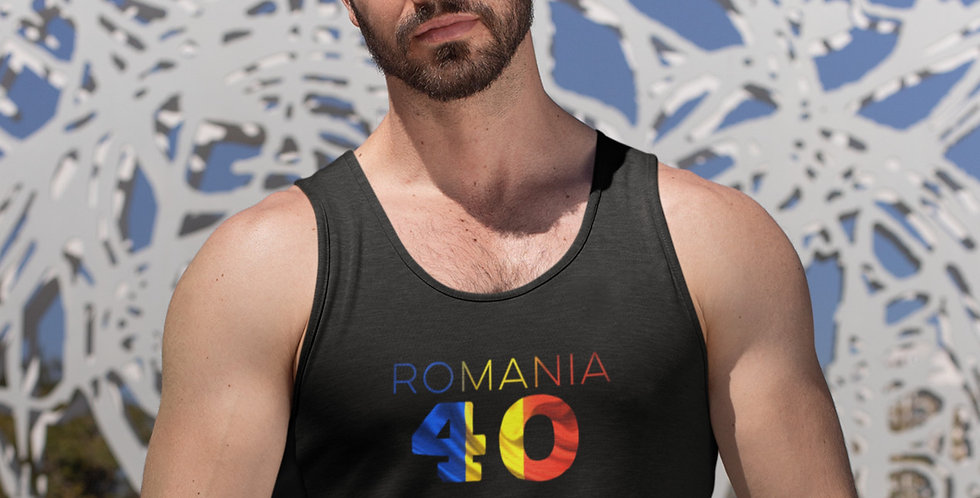Romania Mens Black Tank Top Vest