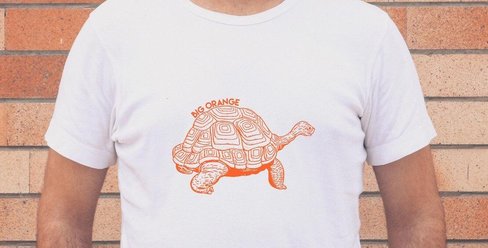 Big Orange Tortoise On White T-Shirt