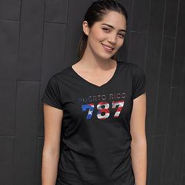 Puerto Rico 787 Womens T-Shirt