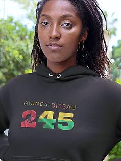 Guinea-Bissau 245 Womens Black Pullover Hoodie