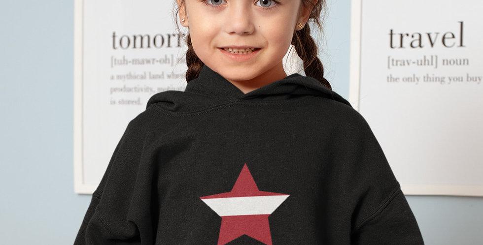 Latvia Childrens Black Hoodie