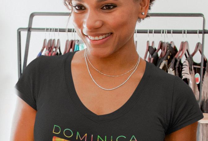 Dominica Womens Black T-Shirt