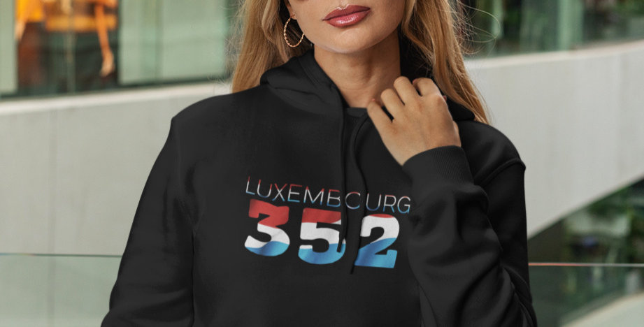 Luxembourg Womens Black Pullover Hoodie