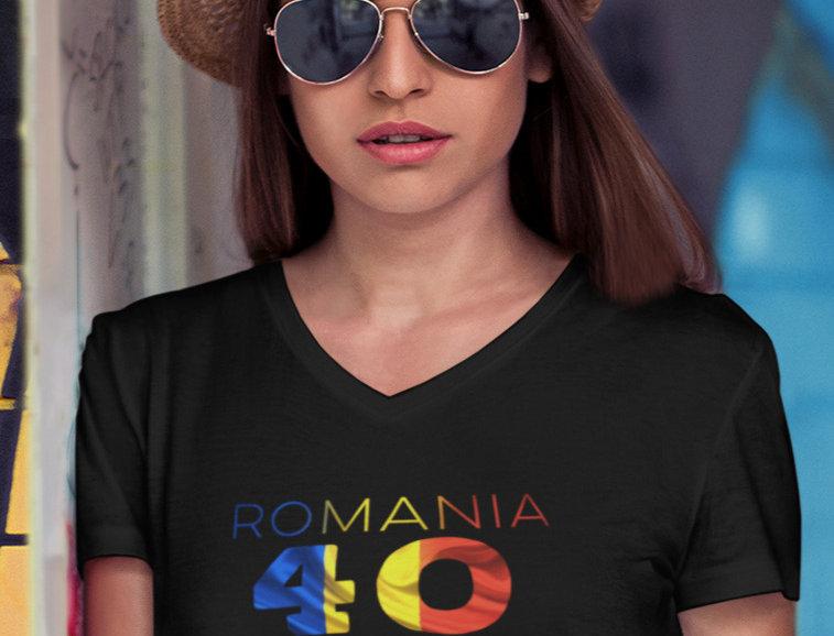 Romania Womens Black T-Shirt