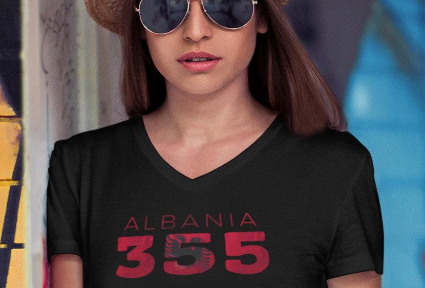 Albania Womens Black T-Shirt