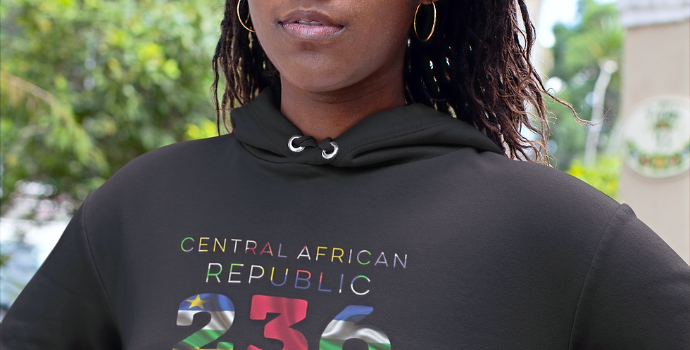 Central African Republic Womens Black Hoodie