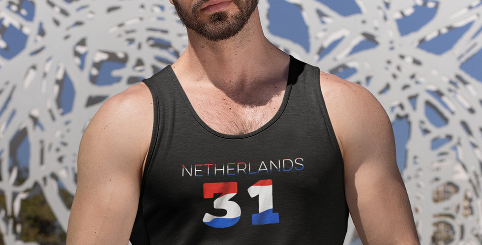 Netherlands Mens Black Tank Top Vest