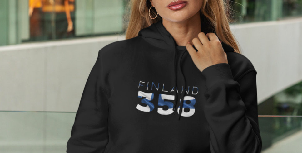 Finland Womens Black Hoodie