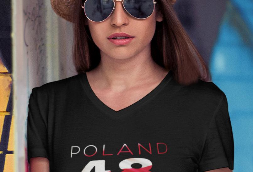 Poland Womens Black T-Shirt