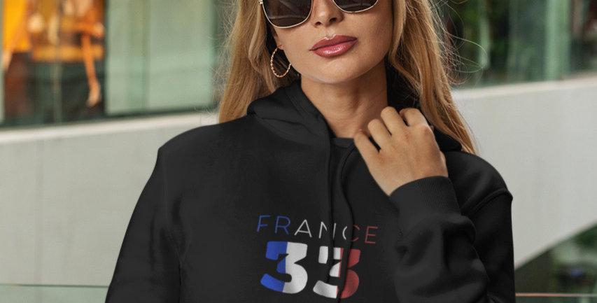 France Womens Black Hoodie