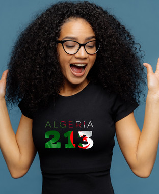 Algeria Womens Black T-Shirt