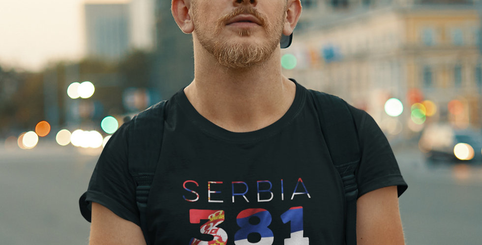 Serbia Mens Black T-Shirt