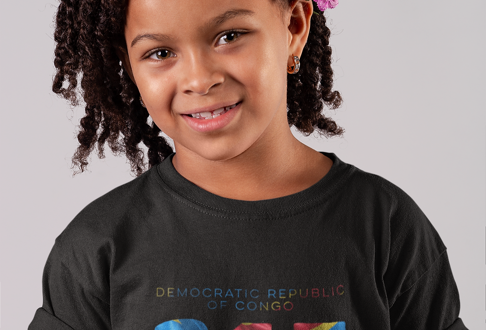 Childrens Black Democratic Republic of Congo T-Shirt