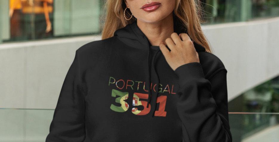 Portugal Womens Black Hoodie