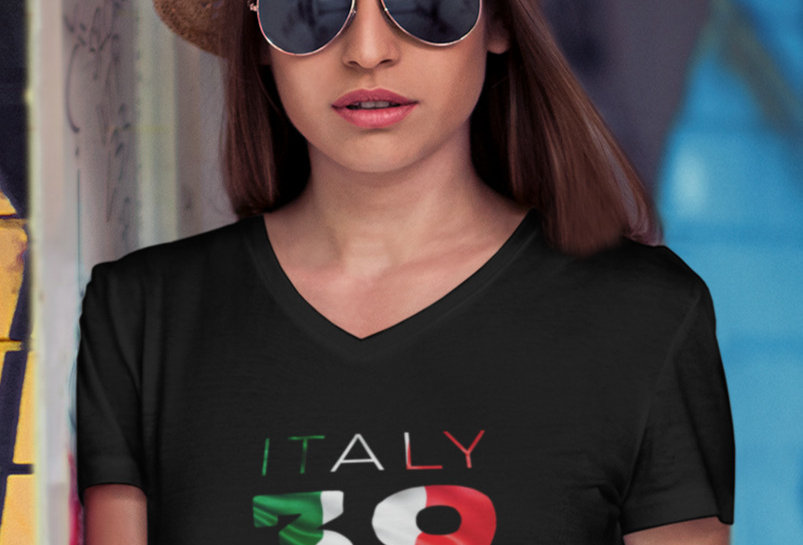 Italy Womens Black T-Shirt