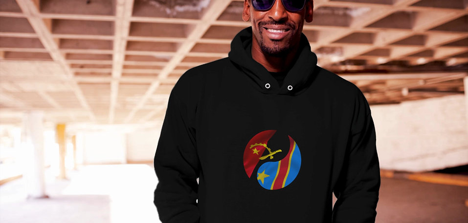Model modelling Democratic republic of africa and Angola fusion hoodie