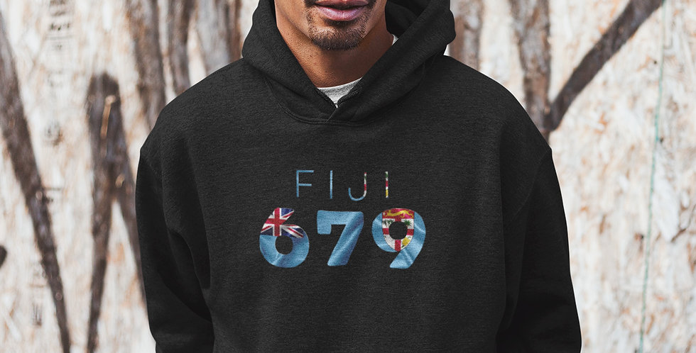 Fiji Mens Black Pullover Hoodie