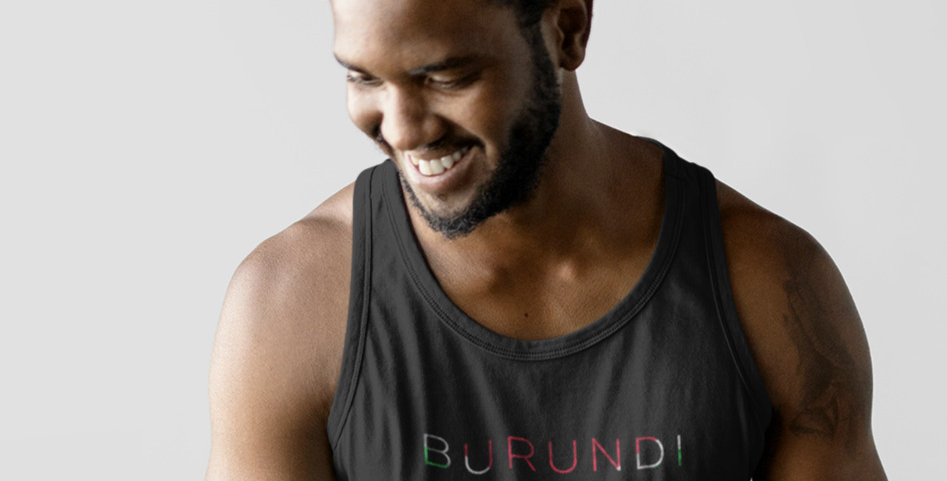 Burundi Mens Black Tank Top Vest