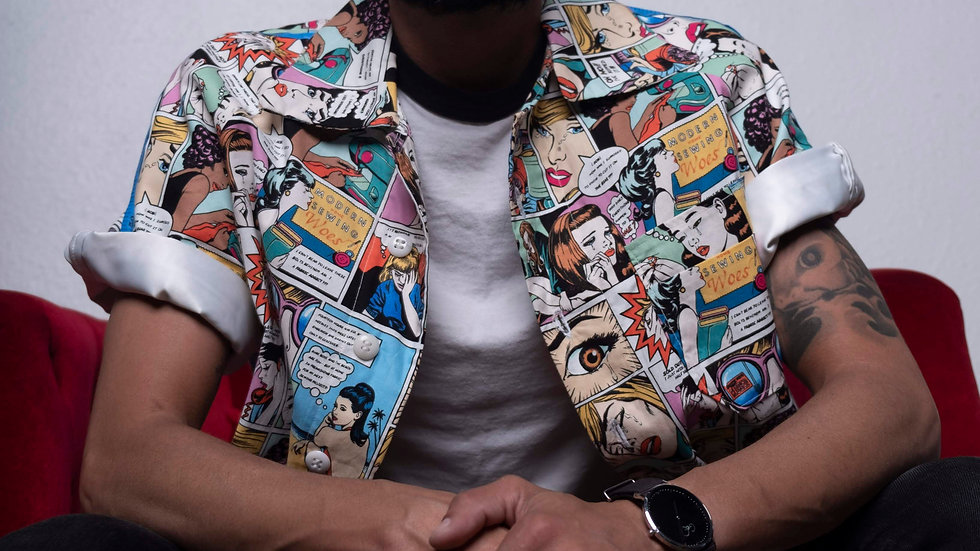 Colorful Comic Book Button Up