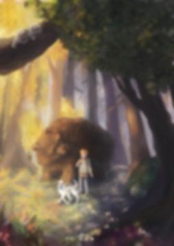 book illustration, book cover, fantasy, forest