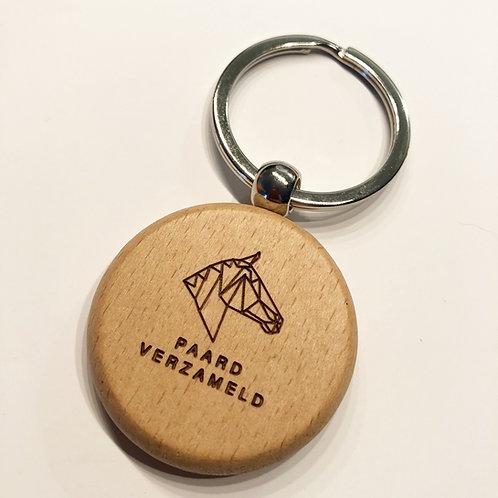 Paard Verzameld wooden keyring